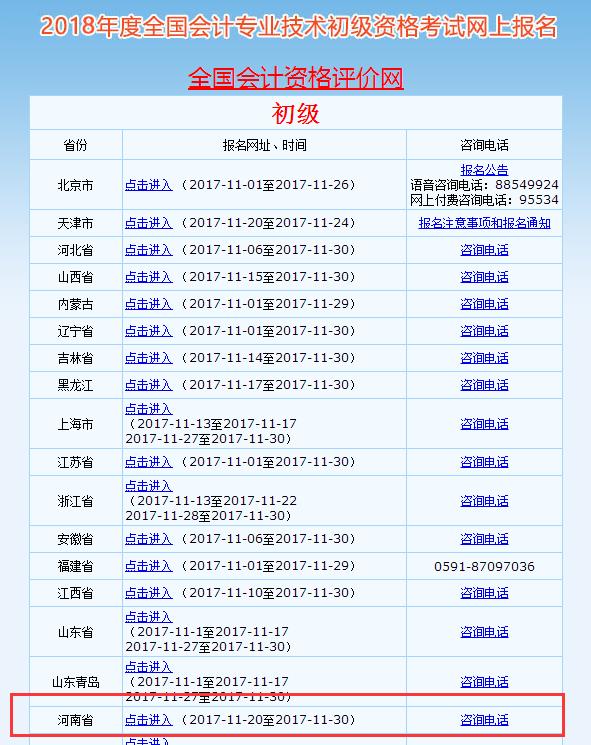 2018年河南省初级会计职称考试报名入口11月20日已开通