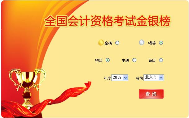 北京市2018年初级会计职称考试银榜入口